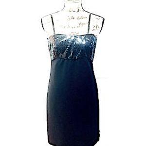 Ann Taylor Dress Black Formal Sequins Straps Zip 4